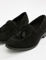 H by Hudson Fringe Suede Loafer - Black