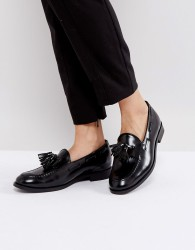 H By Hudson Leather Tassle Loafers - Black