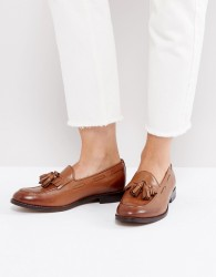 H By Hudson Leather Tassle Loafers - Tan