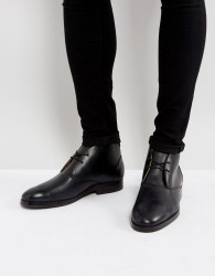 H By Hudson Matteo Leather Desert Boots In Black - Black