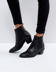 H by Hudson Stud Toe Leather Boot - Black