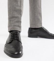 H By Hudson Wide Fit Aylesbury brogues in black leather - Black