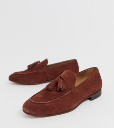 H by Hudson Wide Fit Bolton tassel loafers in rust suede - Brown