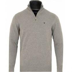 Hackett Cotton Half Zip Grey