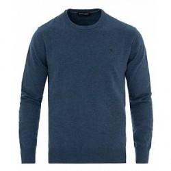 Hackett Cotton/Silk Crew Neck Pullover Dark Denim Blue