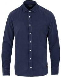 Hackett Slim Fit Baby Corduroy Shirt Ink Blue