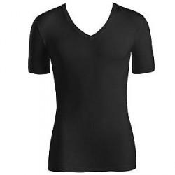 Hanro Cotton Superior Short-sleeved V-neck Top - Black - Large