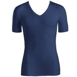 Hanro Cotton Superior Short-sleeved V-neck Top - Navy-2 * Kampagne *
