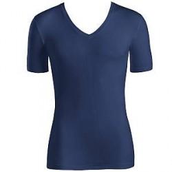 Hanro Cotton Superior Short-sleeved V-neck Top - Navy-2 - Medium