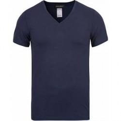 HANRO Cotton Superior V-Neck T-Shirt Midnight Navy