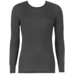 Hanro Woolen Silk Long-sleeved Shirt - Black - Large