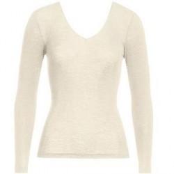 Hanro Woolen Silk Ls Shirt 263 - Ivory - X-Small