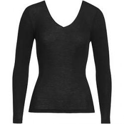 Hanro Woolen Silk Ls Shirt Black - Black - X-Large