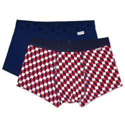 Happy socks 2-pak Filled Optic Trunk - Navy/Checked * Kampagne *