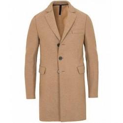 Harris Wharf London Chestercoat Wool Raw Edge Coat Camel
