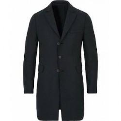 Harris Wharf London Chestercoat Wool Raw Edge Coat Dark Blue