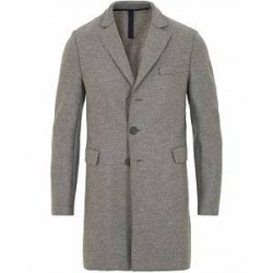 Harris Wharf London Chestercoat Wool Raw Edge Coat Grey Moulinè