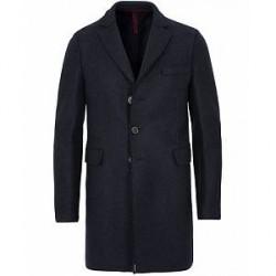 Harris Wharf London Chestercoat Wool Raw Edge Coat Navy Blue
