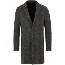 Harris Wharf London Wool Boxy Herringbone Coat Antracite