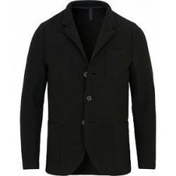 Harris Wharf London Wool Raw Edge Standing Collar Blazer Black