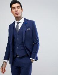 Harry Brown Blue Flannel Slim Fit Wool Blend Suit Jacket - Blue
