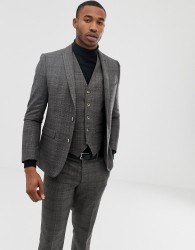 Harry Brown grey check slim fit suit jacket - Grey