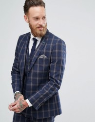 Harry Brown Plain Stretch Slim Suit Jacket - Navy