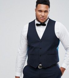 Harry Brown PLUS Plain Black Slim Fit Tuxedo Waistcoat - Navy