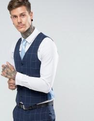 Harry Brown Skinny Fit Blue Grid Waistcoat - Blue