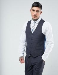 Harry Brown Skinny Fit Geo Blue Suit Waistcoat - Blue