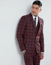 Harry Brown Skinny Tartan Suit Jacket - Red