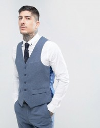 Harry Brown Slim Fit Donegal Nep Waistcoat - Blue