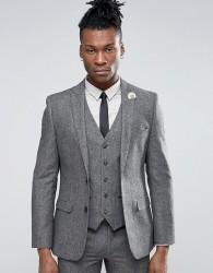 Harry Brown Slim Fit Donegal Wool Blend Suit Jacket - Grey
