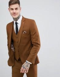 Harry Brown Slim Semi Plain Textured Suit Jacket - Brown