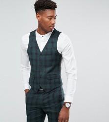Harry Brown TALL Skinny Fit Tartan Waistcoat - Green