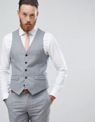 Harry Brown Winter Wedding Charcoal Tonal Skinny Fit Waistcoat - Grey