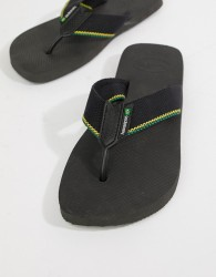 Havaianas Brasil flip flops in black canvas - Black
