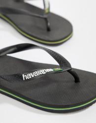 Havaianas Brasil Logo Flip Flops In Black - Black