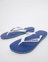 Havaianas Brasil Logo flip flops in blue - Blue