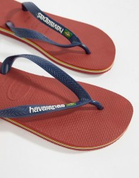 Havaianas Brasil Logo Flip Flops In Red - Red