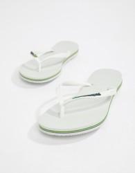 Havaianas Brasil logo flip flops in white - White