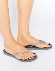 Havaianas Silver Slim Flip Flops - Silver