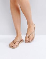 Havaianas Slim Rose Gold Flip Flops - Gold