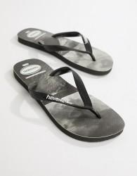 Havaianas surfing print flip flops - Black