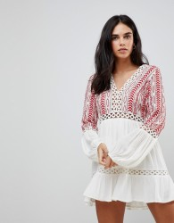 Hazel Embroidered Floaty Long Sleeved Dress - White