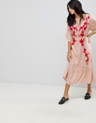 Hazel Embroidered Front Maxi Dress - Pink