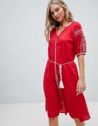Hazel Embroidered Midi Dress with Tassel Belt - Red