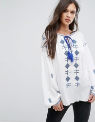 Hazel Embroidered Tassle Long Sleeve Blouse - White