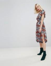 Hazel Floral Printed Off Shoulder Midi Dress - Multi