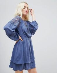 Hazel Lace Panelled Long Sleeved Dress - Blue